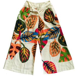 ANTHROPOLOGIE Farm Rio Leaf Wide Leg Pants XXS